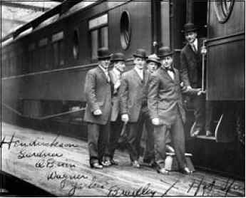 At the Hot Springs train station are: Henriksen, Gardner, O'Brien, Wagner, Yerkes, and Bradley.