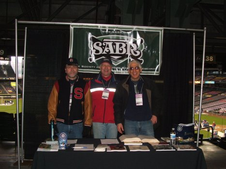 Tim Jenkins, Tim Herlich, David Alvarez staff the NWSABR booth at Mariners FanFest 2010